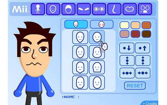 Example of the Mii Creator from Nintendo
