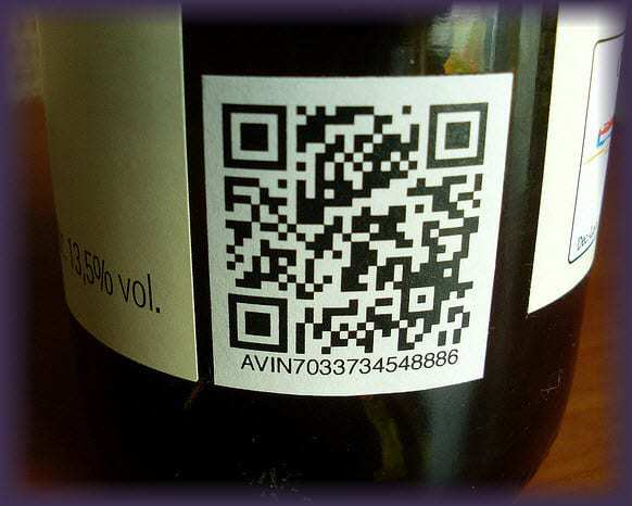 Example of QR Codes On Wine