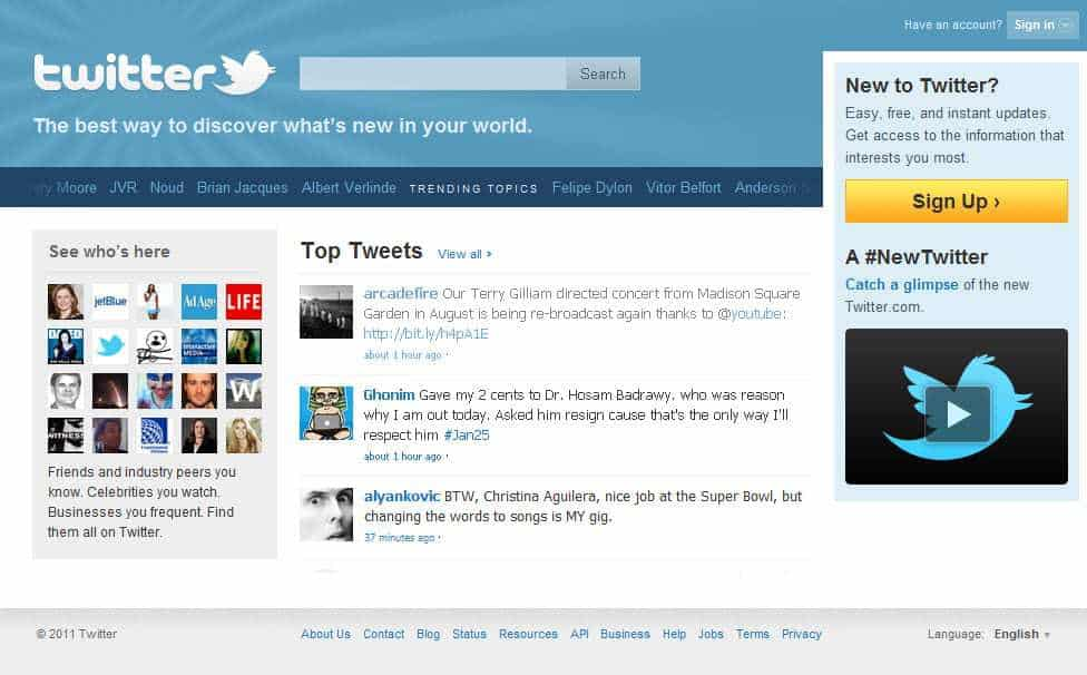 social media marketing Twitter Sign In Screen