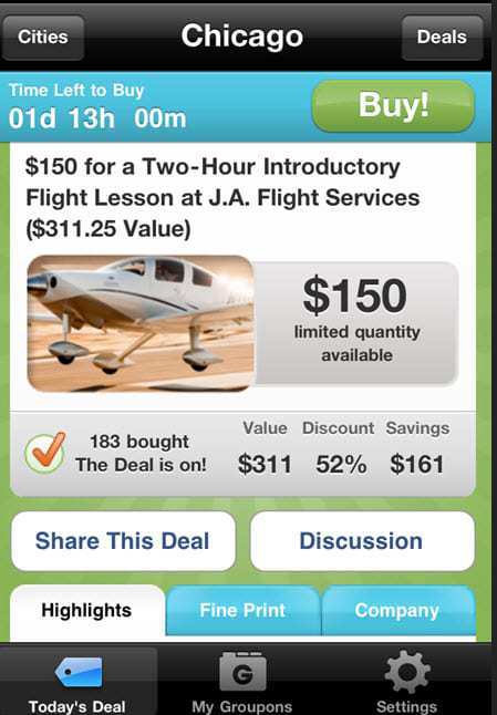 Current Groupon Free App Example