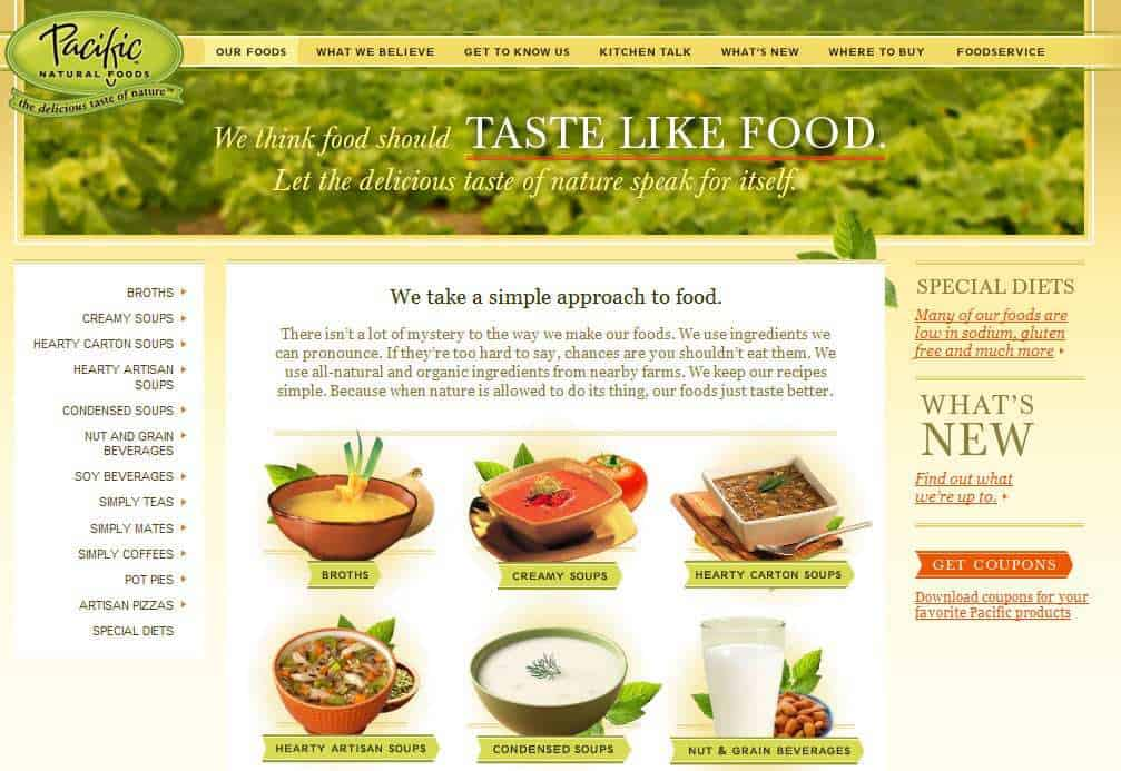 Pacific Natural Foods Snap Shot of Website