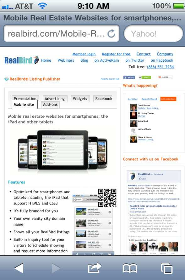 Snap Shot of Realbird's Mobile Website