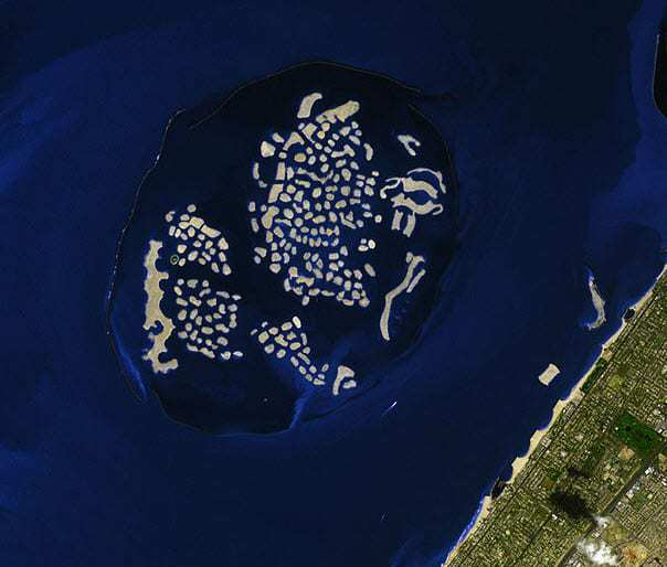 The world made up of man-made islands coast of Dubai