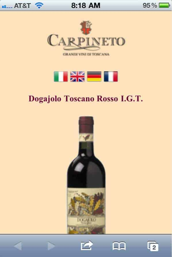 Wine QR Code Linked to Carpineto's Mobile Site