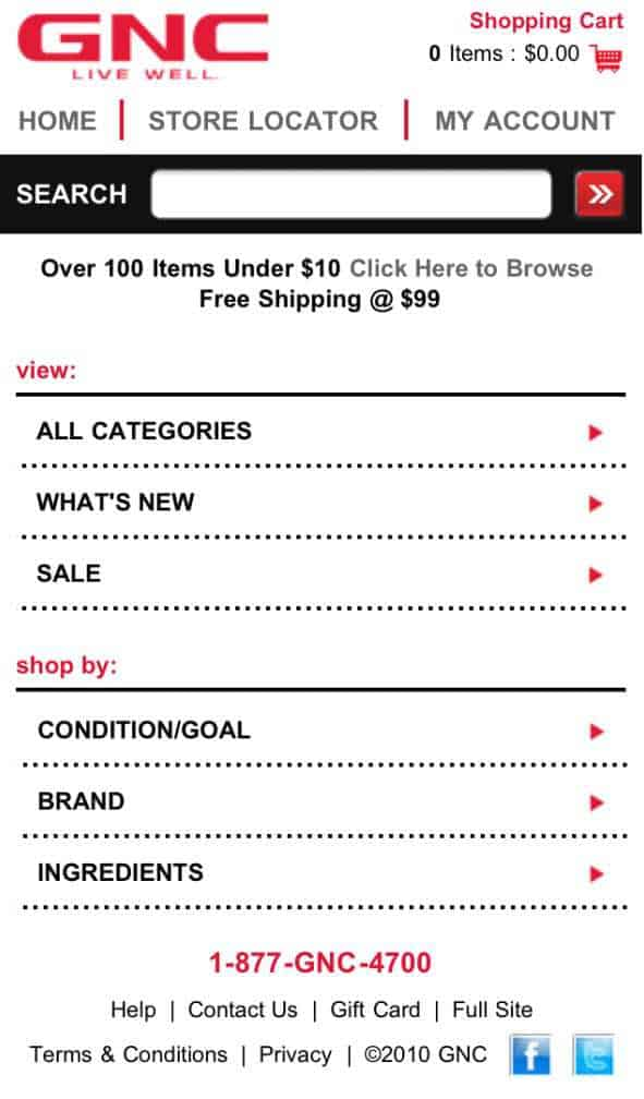 Example of a good search mobile website