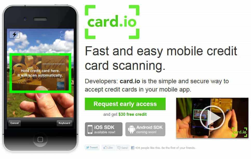 Snap Shot of Card.io site