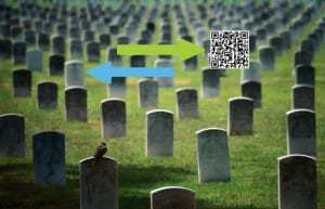QR codes appearing on headstones produced by a Philadelphia business