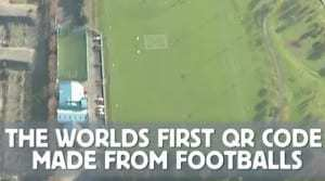Catch the biggest QR code in the world made from soccer balls