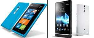 Nokia and Sony show off their new NFC-enabled smart phones at the Consumer Electronics Show