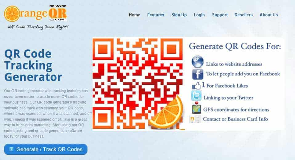 Orange QR Website Snapshot