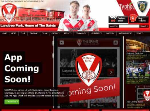 Snap Shot of Saints Rugby Club site - qr code scanner app