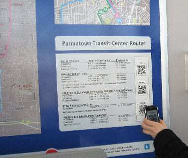 QR codes at bus stops