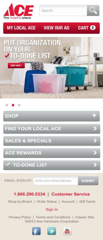 Mobile Commerce site for Ace Hardware