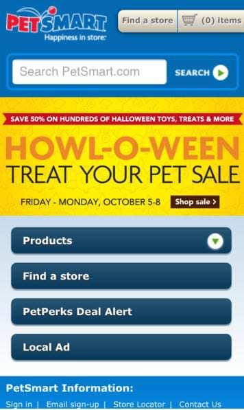 Mcommerce Petsmart mobile website