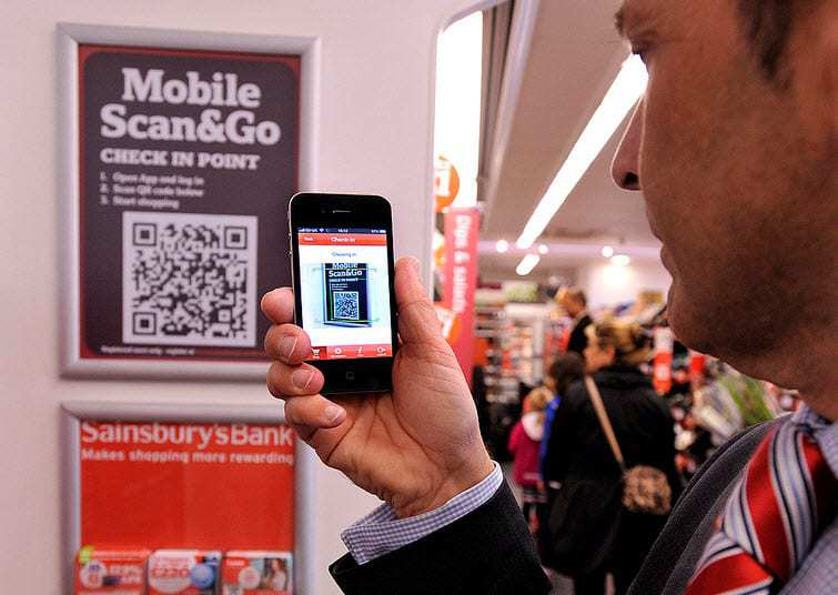 m-commerce app Sainsbury QR code mobile check out