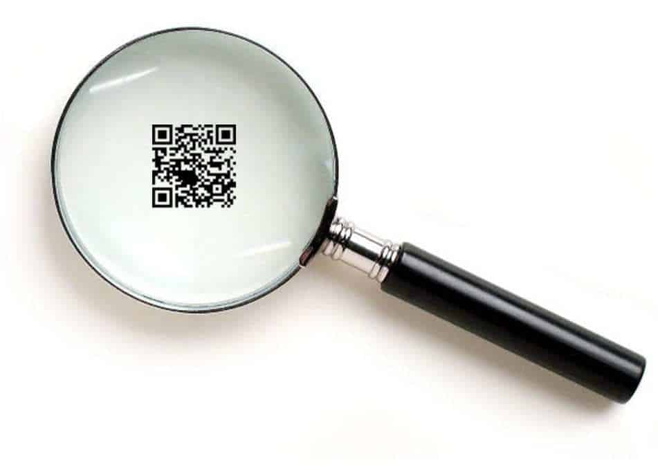 qr code authenticity checks - qr code under magnifying glass