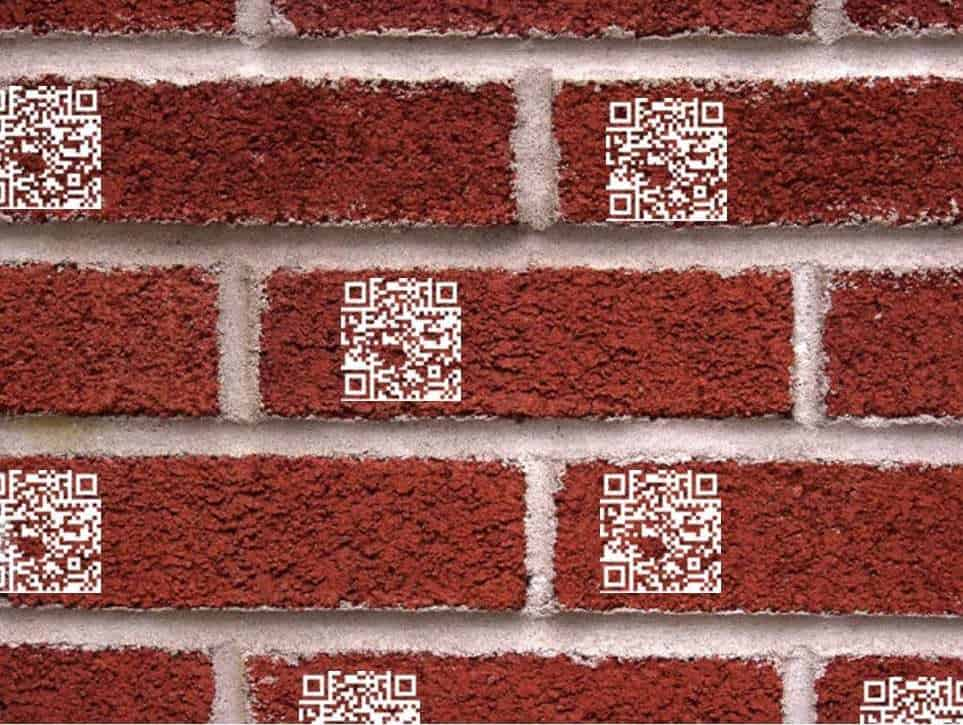 QR codes sidewalk bricks