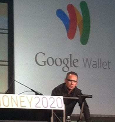 Mobile Payments - Peter Hazlehurst wearing Google Glass at Money 2020