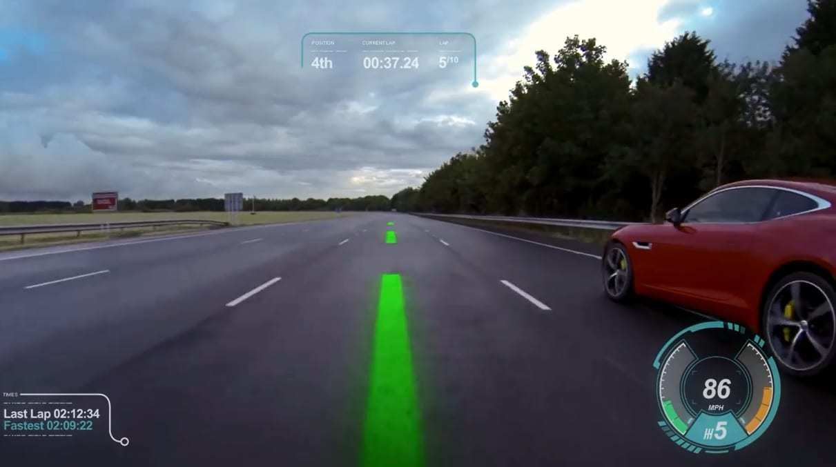 augmented reality windshield jaguar land rover