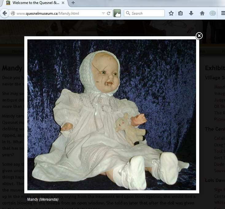 Mandy doll Quesnel Museum QR codes