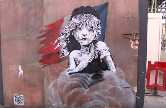 banksy mural calais refugee camp tea gas qr codes