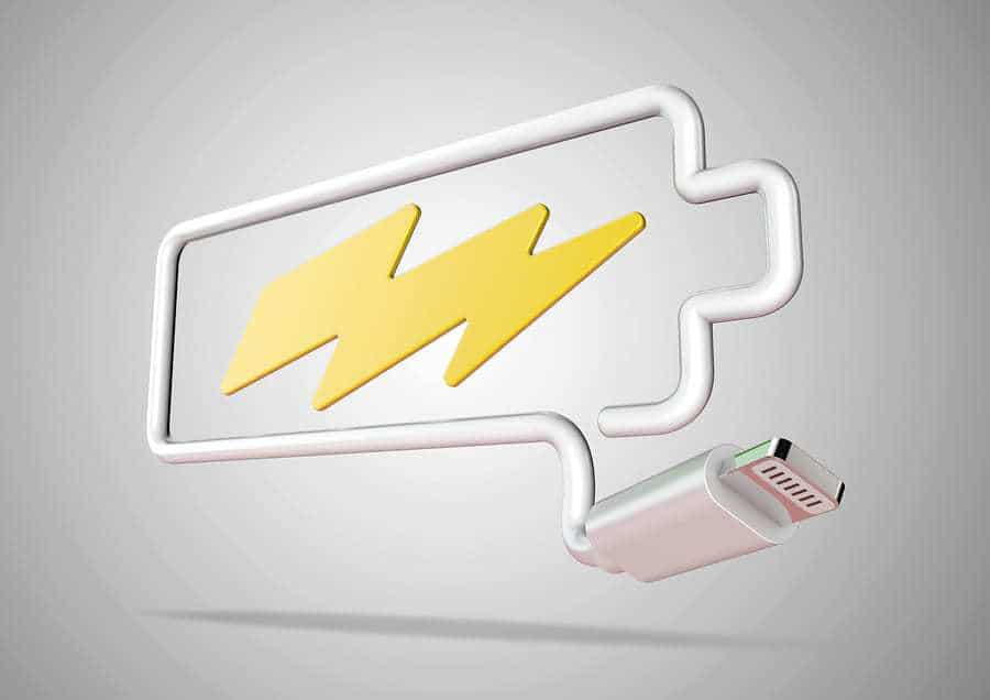 Smartphone battery life Computer cable and plug makes battery logo with lightening bolt battery pack