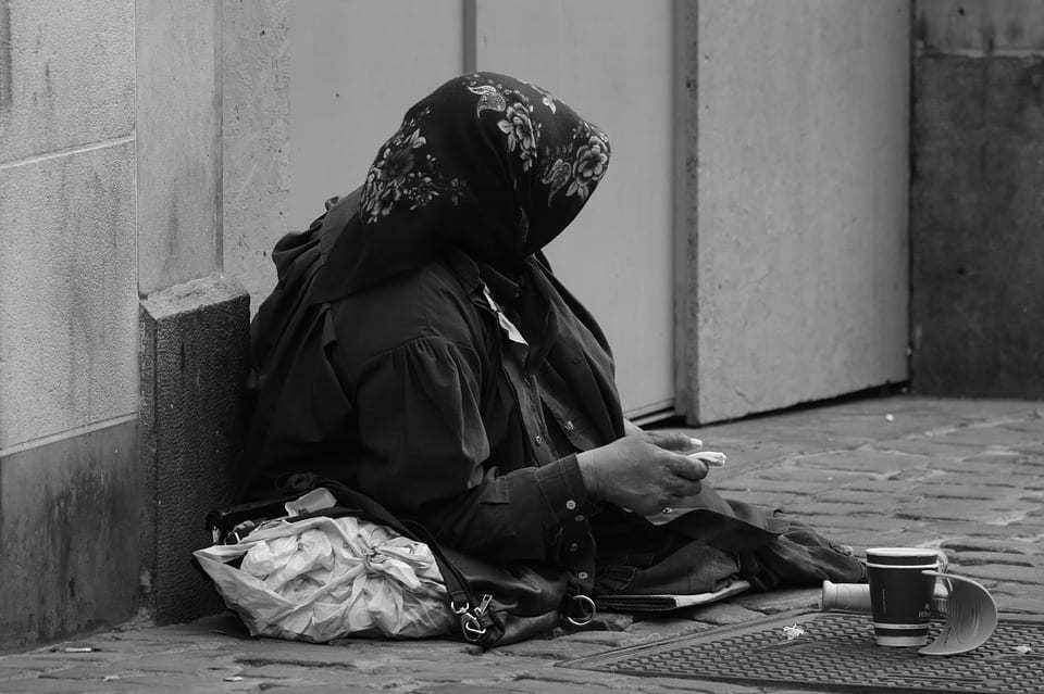 begging panhandling qr code money