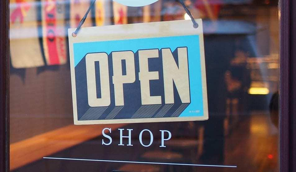 Retail Mobile Payments - Shopping in-store - shop with Open sign