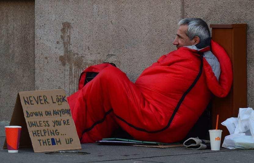 Greater Change QR Codes - Homeless man on street