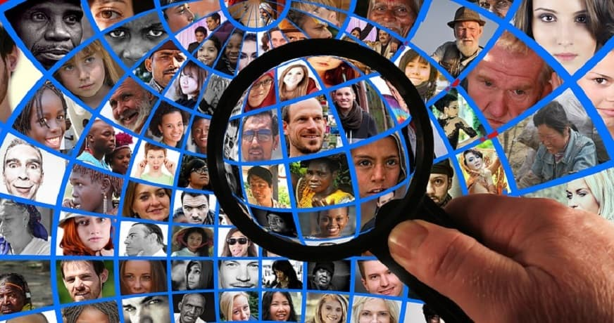 Facial recognition tech ban - magnifying glass - people