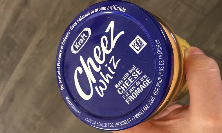 QR code labels - QR coce on Cheez Whiz container lid