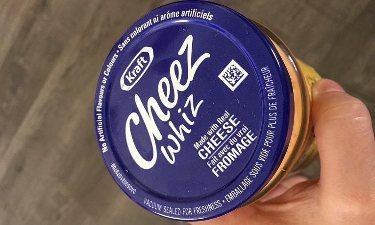 QR code labels - QR coce on Cheez Whiz container lid
