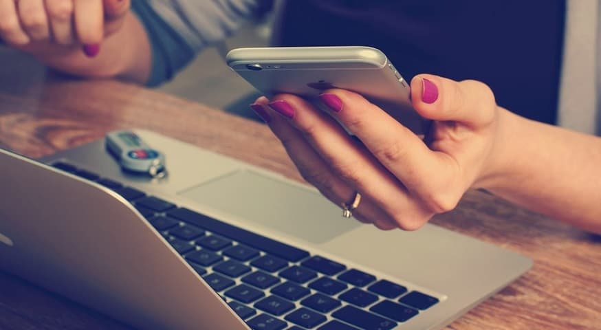Mobile text verification - mobile phone and laptop