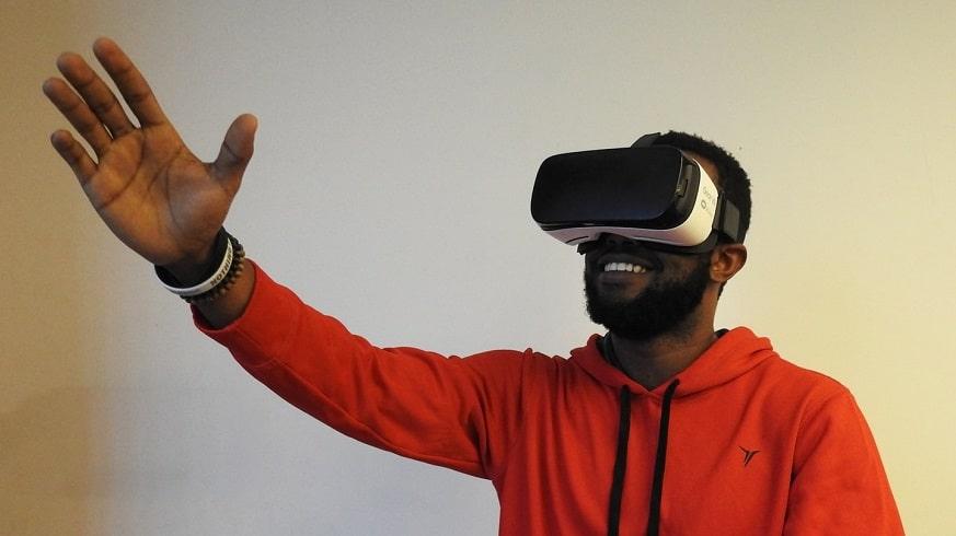 Mobile virtual reality - man using Gear VR