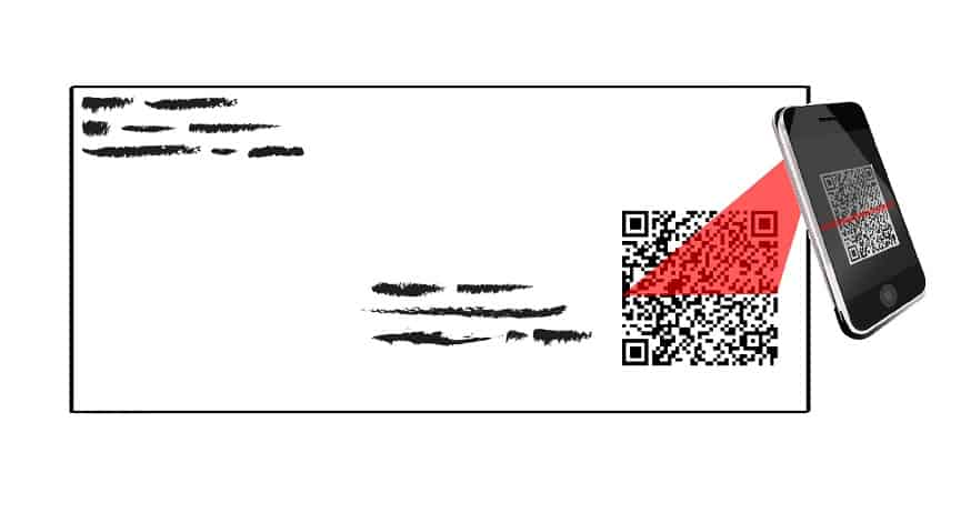 Unencrypted QR Code - Qr code being scanned on envelope