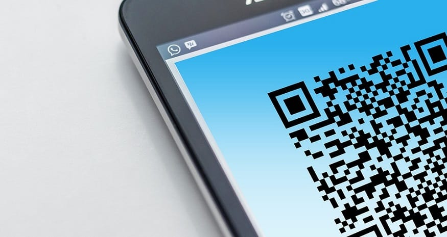 QR code security - Smartphone with QR code