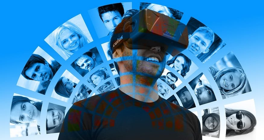 Facebook Oculus - man using VR Oculus headset