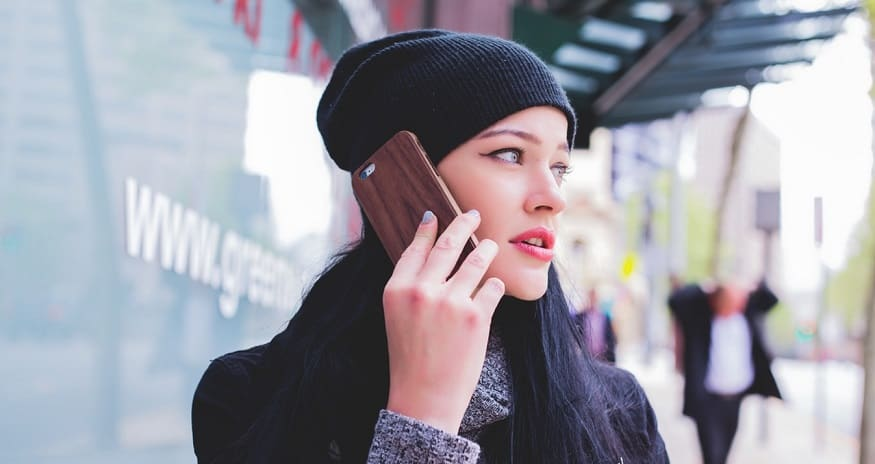 Mobile commerce security - Woman on Phone