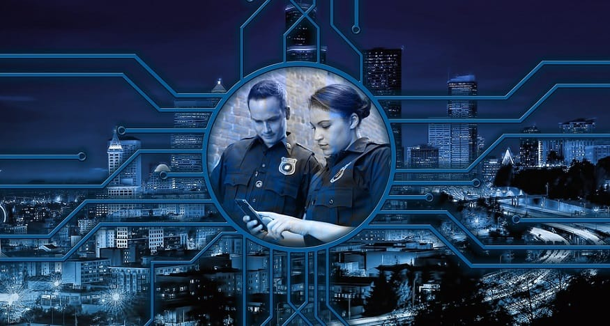 Facial recognition software - police with smartphone - technology