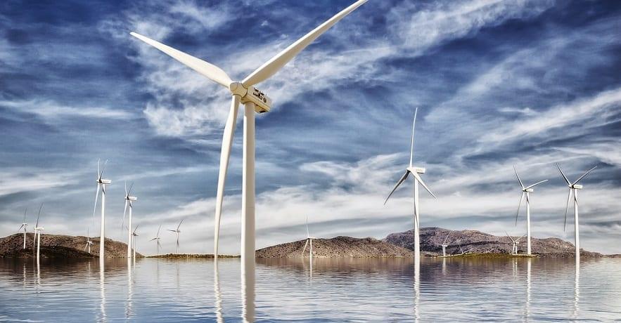 Largest offshore wind farm - wind turbines in water