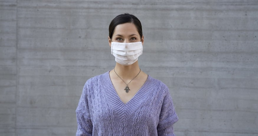 Facial recognition software - woman wearing face mask