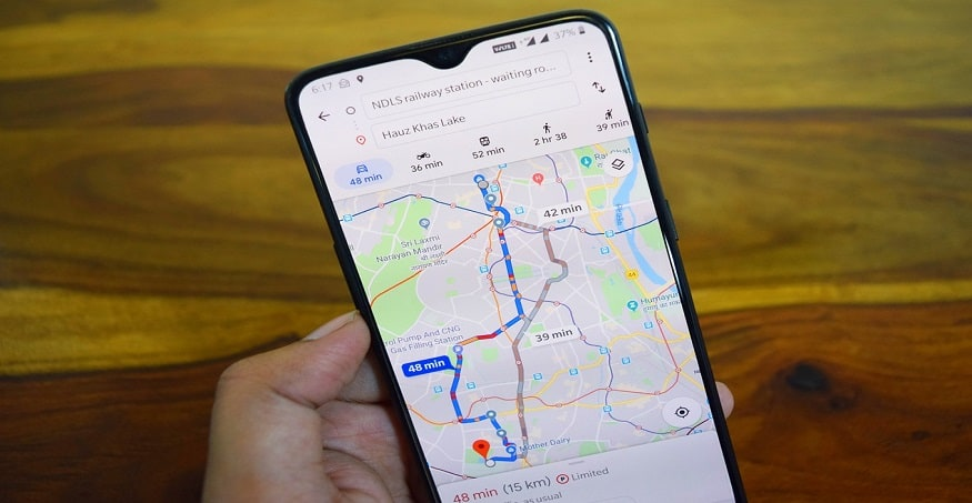 Google Maps app on phone