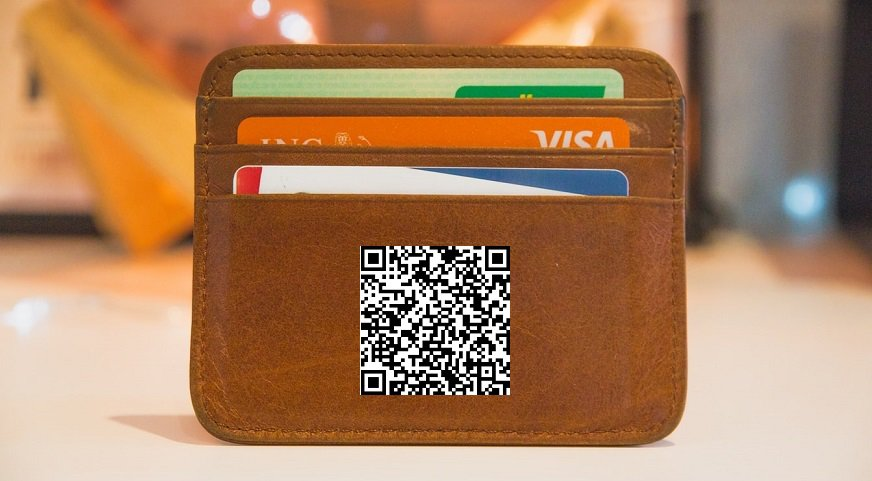 City Bank QR code - Wallet with credit cards and QR code