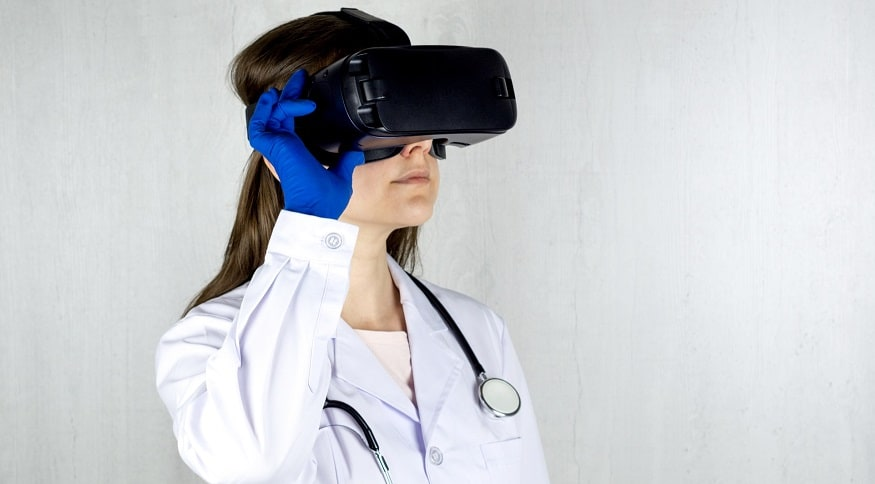 Virtual reality for pain - doctor wearing VR headset