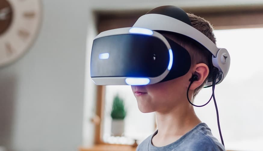 Bill Nye virtual reality - child wearing VR headset