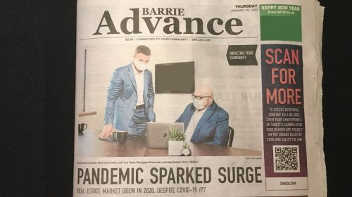 QR code newspaper - Barrie Advance Newspaper with QR Code feature