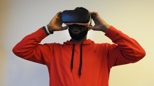 Virtual reality technology - man wearing VR headset