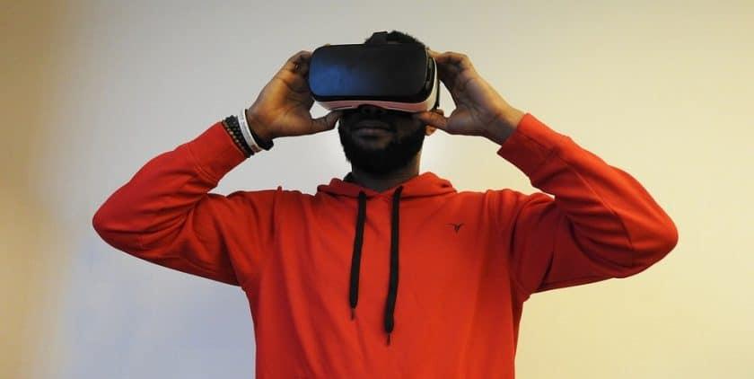 Virtual reality technology - man wearing VR headset