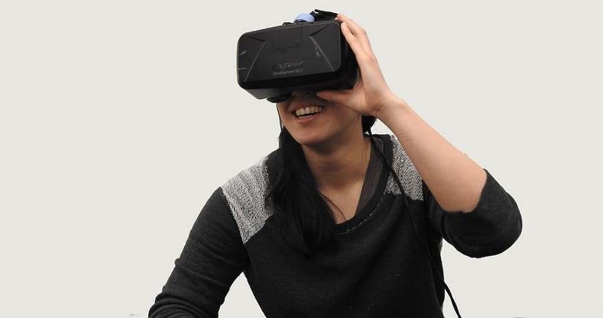 Virtual reality travel - person using VR headset