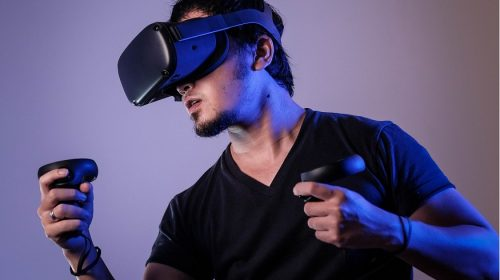 Virtual Reality technology - Person playing VR Game
